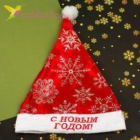 Новогодняя шапка Деда Мороза снежинки серый, оптом фото 1