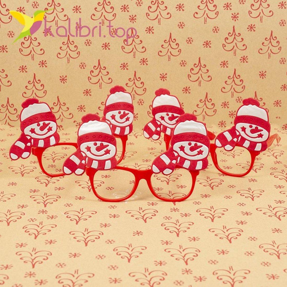 Новогодние очки снеговики красные ОО-17 оптом фото 1573