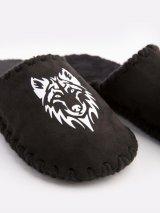 Мужские домашние тапочки Волк черные закрытые, Family Story - 3