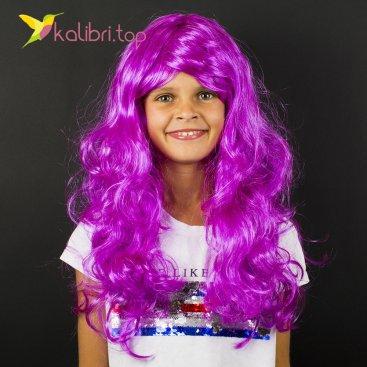 Парик карнавальный фиолетовый оптом фото 01