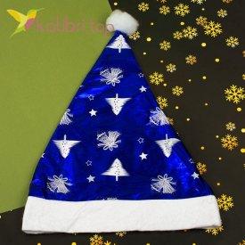 Новогодняя шапка Деда Мороза синяя, оптом фото 1