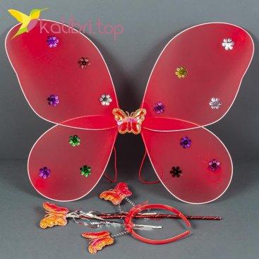 Карнавальные крылья бабочки красный, оптом фото 1
