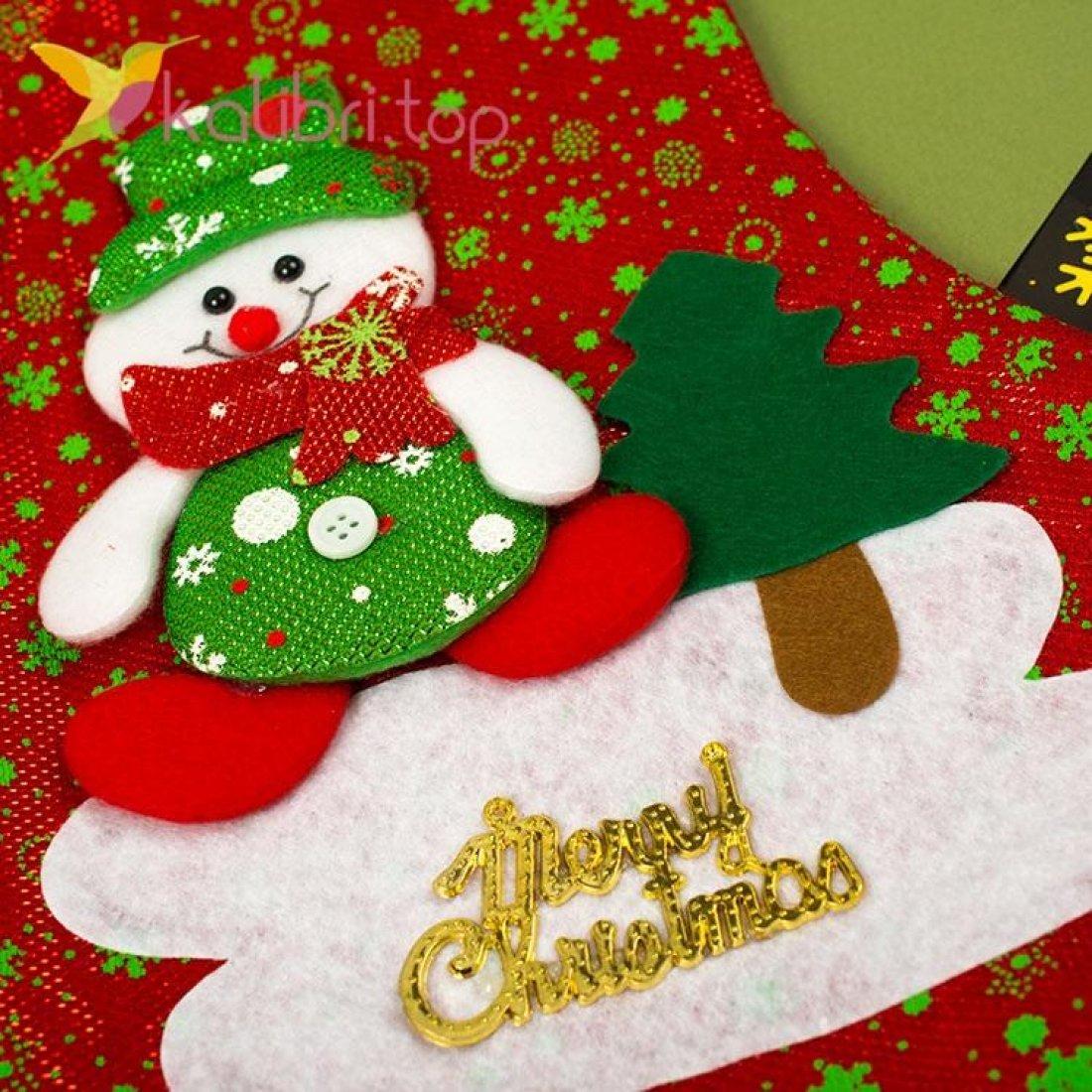 Сапожок для подарков большой с снеговиком 5, оптом фото 2