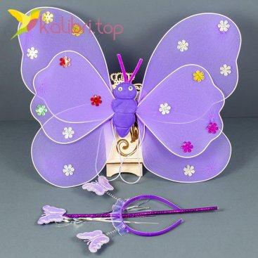 Набор карнавальный крылья феи фиолетовый оптом фото 0258