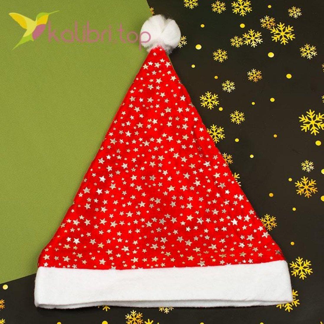 Новогодняя шапка Деда Мороза звёздочка серая, оптом фото 1