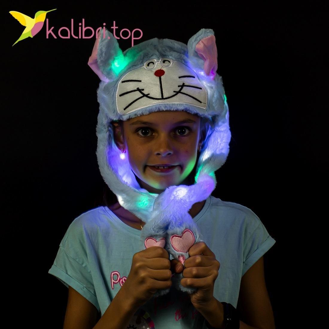 Шапка с поднимающимися светящимися ушками кот оптом фото 17