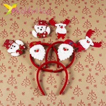 Новогодние обручи на пружинках олени, снеговик, Дед Мороз оптом фотография 6955