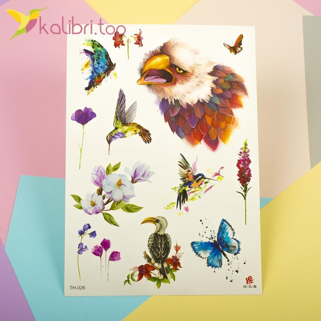 Детские, временные татуировки - радужные птицы оптом фото 1