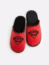 Мужские домашние тапочки Super Dad красные закрытые, Family Story - 1