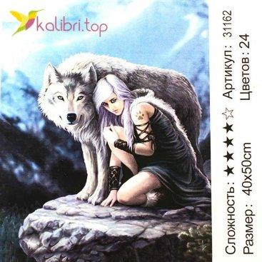 Рисования по номерам Девушка и волк 40*50 см оптом фото 71