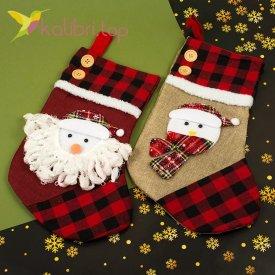 Носок для подарков большой с Снеговиком микс, оптом фото 1