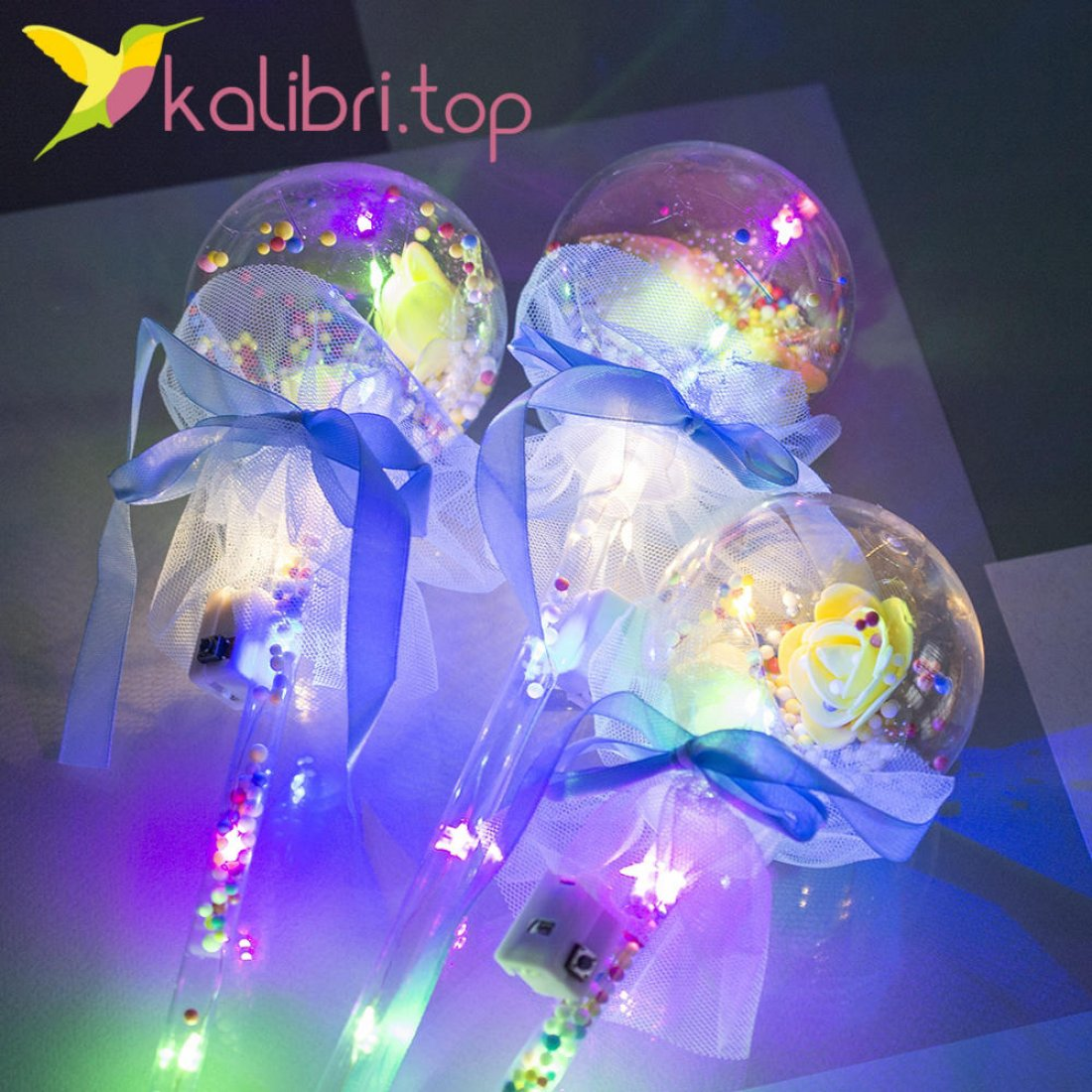 Светодиодная палка LED Розы голубой оптом фото 3