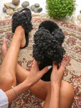 Женские домашние тапочки барашки иксики Черного цвета, Family Story - 1