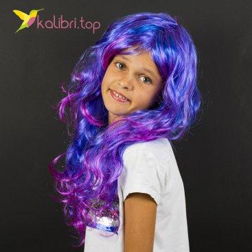 Парик карнавальный сине-фиолетовый оптом фото 01
