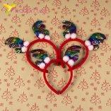 Новогодние рожки с разноцветной пайеткой оптом фото 44774