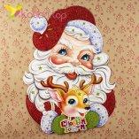 Новогодние наклейки Дед Мороз и олень 64 см оптом фото 1816