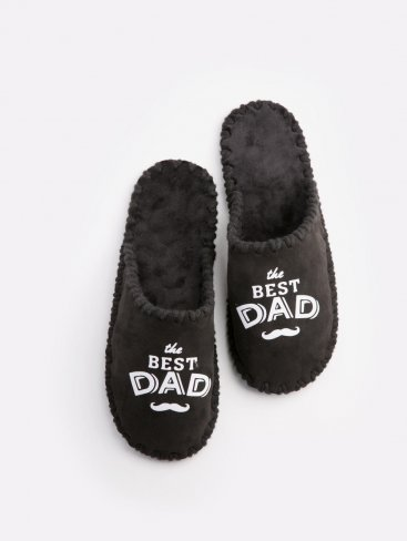 Мужские домашние тапочки The Best Dad черные закрытые, Family Story - 1