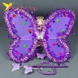Набор карнавальный крылья бабочки фиолетовый, оптом фото 1