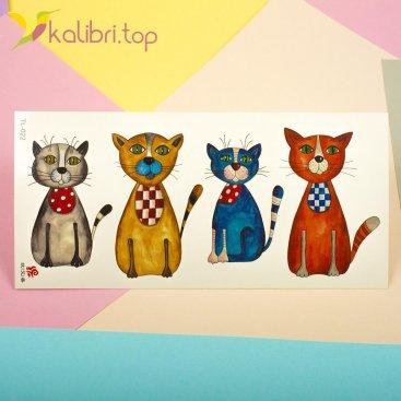 Детские, переводные, временные татуировки - коты, оптом - фото 1