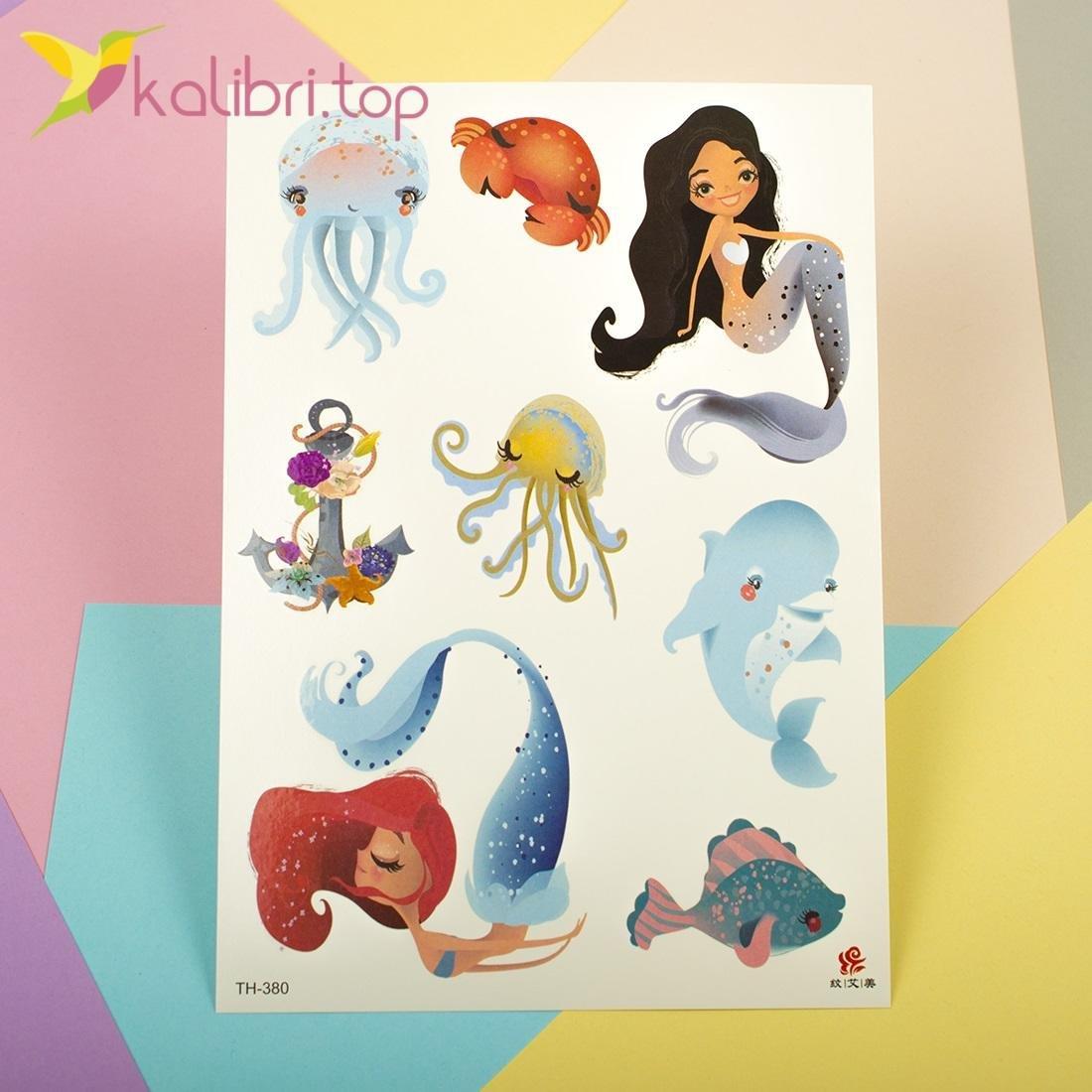 Детские, временные татуировки - русалки, дельфины - Kalibri