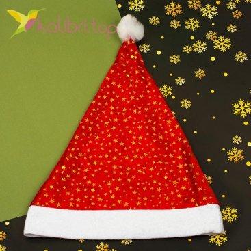 Новогодняя шапка Деда Мороза звёздочки золото, оптом фото 1