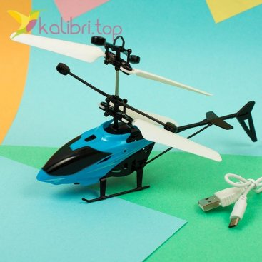 Летающая игрушка вертолет голубой оптом фото 758