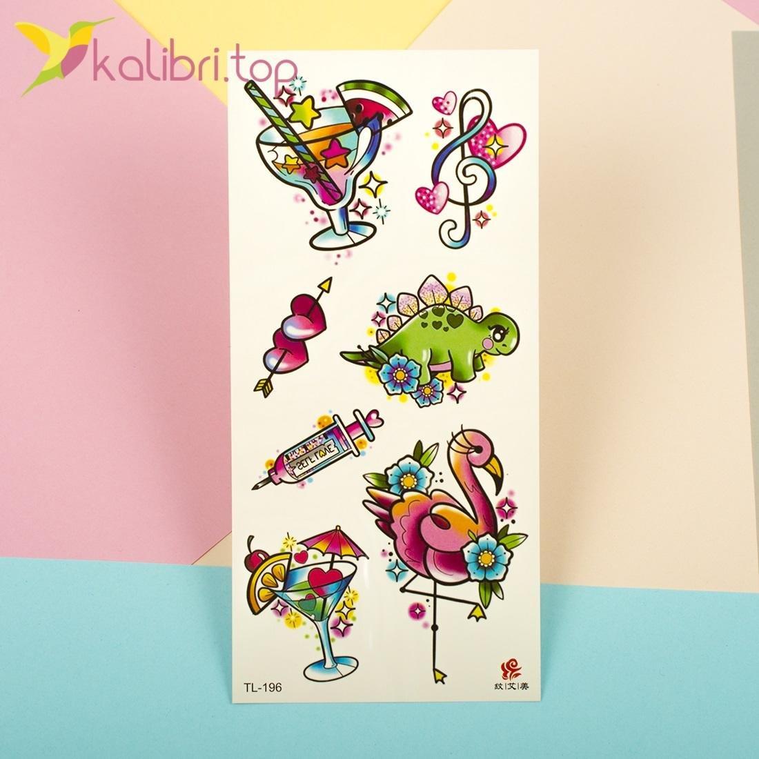 Детские яркие татуировки фламинго, оптом - фото 1