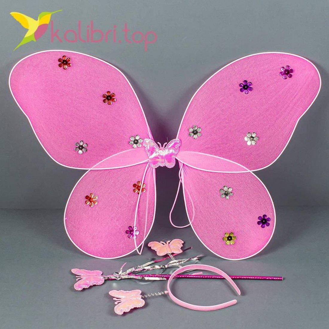 Карнавальные крылья бабочки розовое оптом фото 357