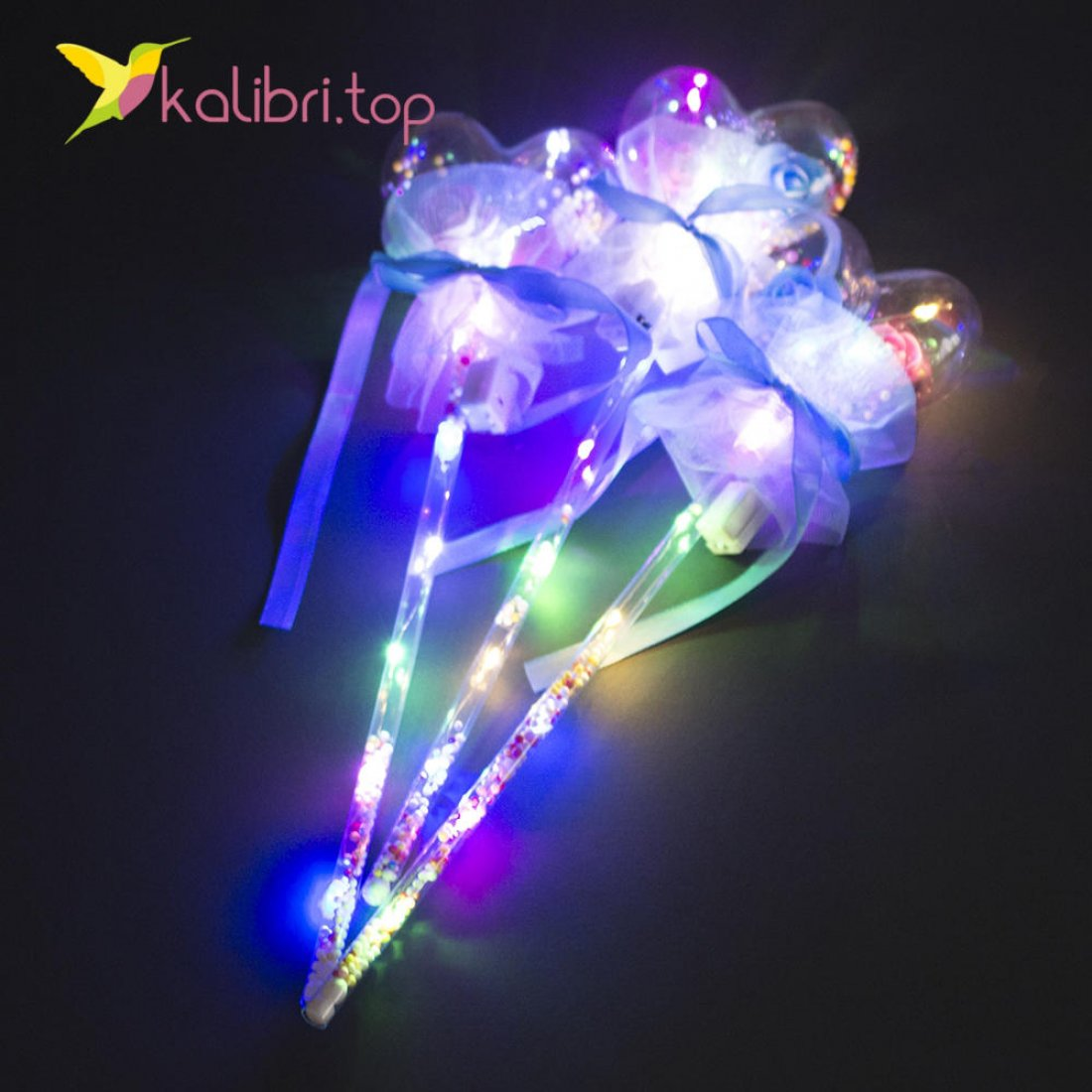 Светящиеся палочка сердечко голубое оптом фото 3