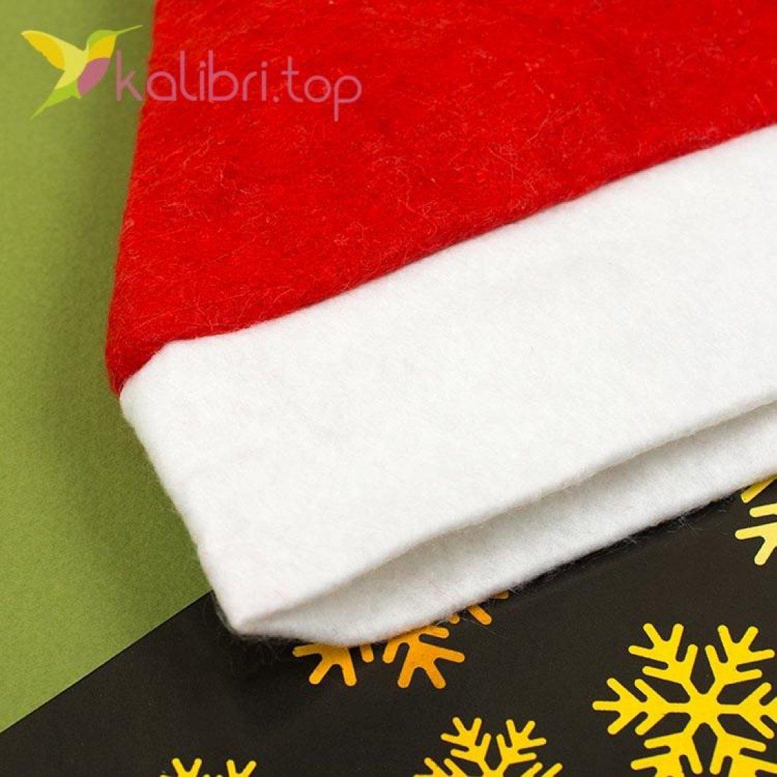 Новогодняя шапка Деда Мороза красная, оптом фото 2
