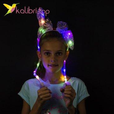 Светящийся обруч с поднимающимися ушками фиолетовый оптом фото 987
