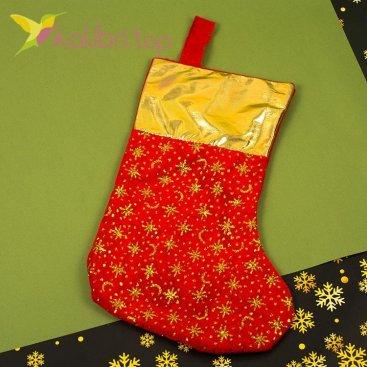 Носок для подарков большой с золотом, оптом фото 1