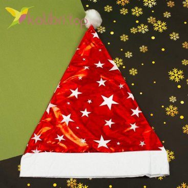 Новогодняя шапка Деда Мороза звёздочки, оптом фото 1