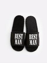Мужские домашние тапочки Best Man черные открытые, Family Story - 3