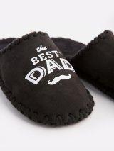 Мужские домашние тапочки The Best Dad черные закрытые, Family Story - 3