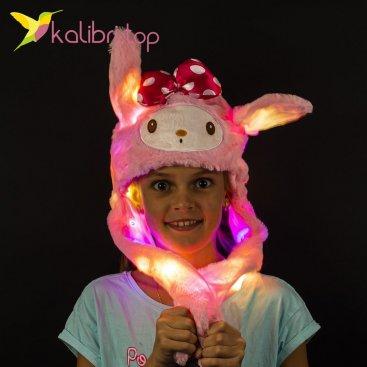 Светящиеся шапка с двигающимися ушками бант розовый оптом фото 11