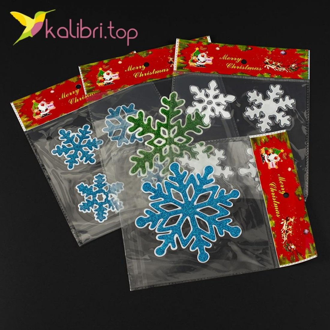Новогодние силиконовые наклейки на окна Снежинки оптом фото 10745