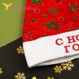 Новогодняя шапка Деда Мороза звёзды, оптом фото 2