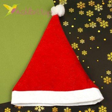 Новогодняя шапка Деда Мороза красная, оптом фото 1
