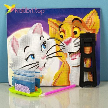Алмазная живопись по номерам Кошки 21*25 см оптом фото 6993
