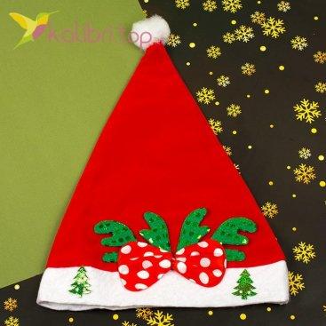 Новогодняя шапка Деда Мороза бантик зелёный, оптом фото 1