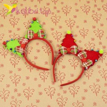 Новогодний ободок в виде елочек с колокольчиками оптом фото 1444