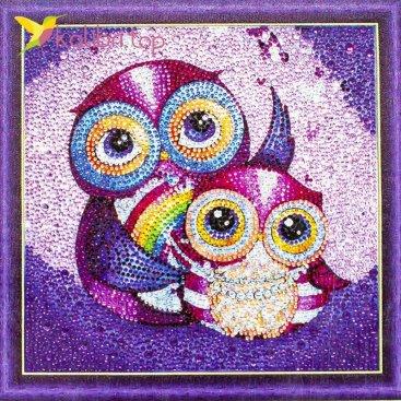 Алмазная мозаика по номерам Совы 30*30 см фото 364