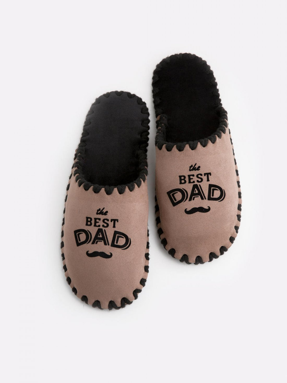 Мужские домашние тапочки The Best Dad мокко закрытые, Family Story - 1