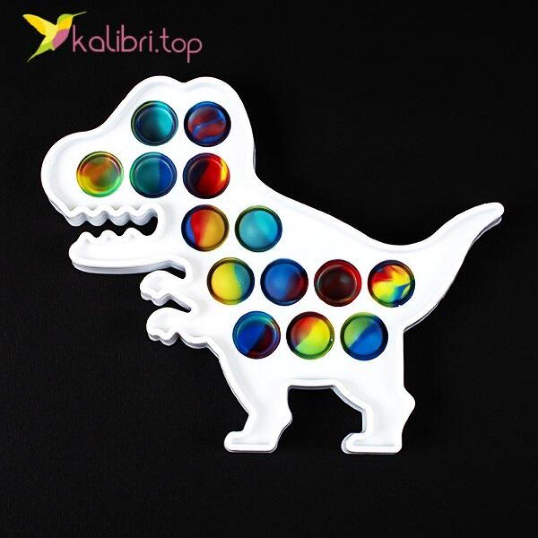 Антистресс Поп ит (pop-it) Динозавр пластик белый оптом фото 01