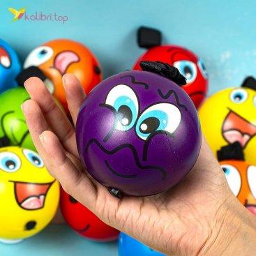 Поролоновые мячи Мордашки на резинке 7,6 см оптом фото 01