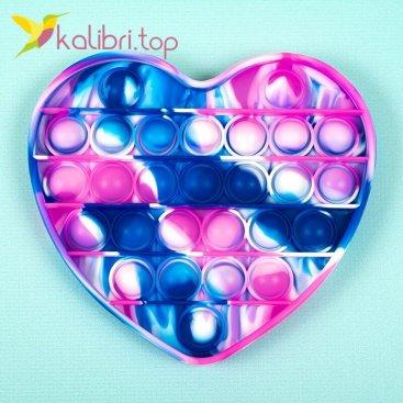 Пупырка Поп ит (pop-it) сердечко синий оптом фото 01