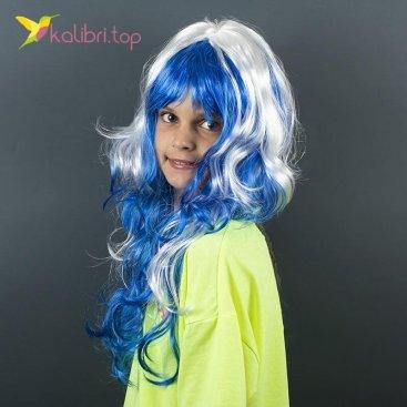 Карнавальный парик Синий с мелированием оптом фото 01
