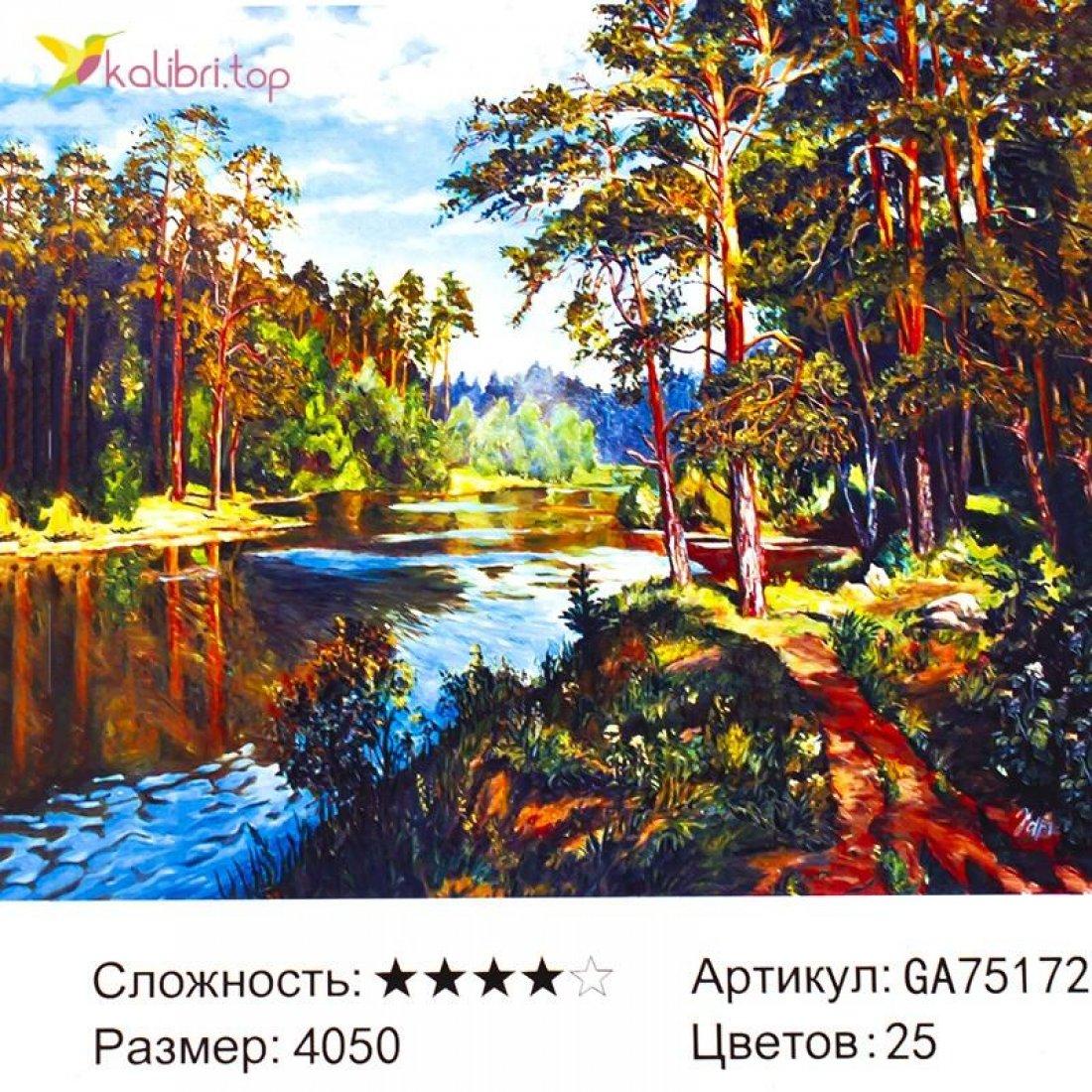 Алмазная мозаика по номерам Река в Лесу 40*50 см оптом фото 3