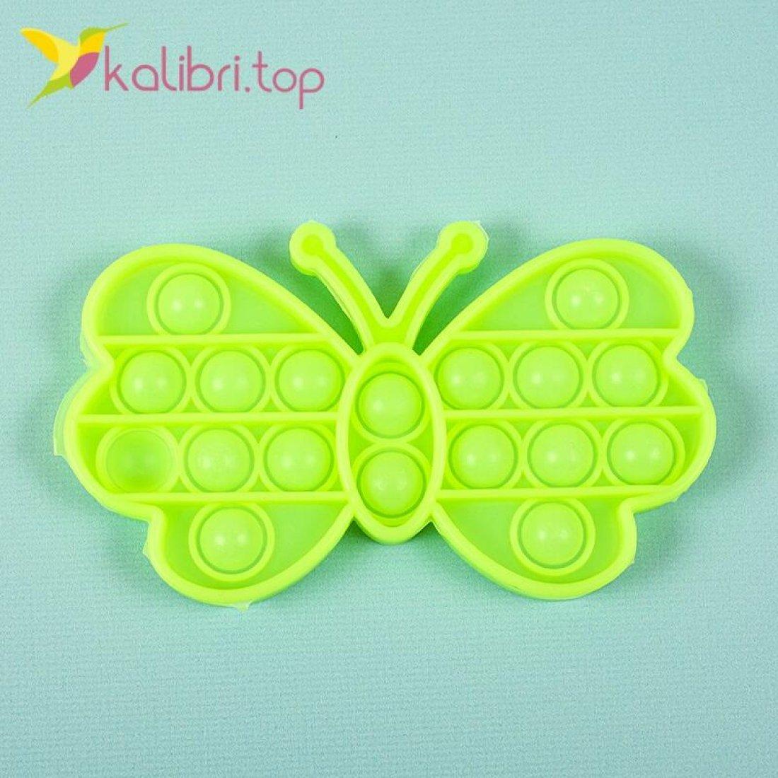Поп-ит (pop-it) флуоресцентный Бабочка салатовый оптом фото 01